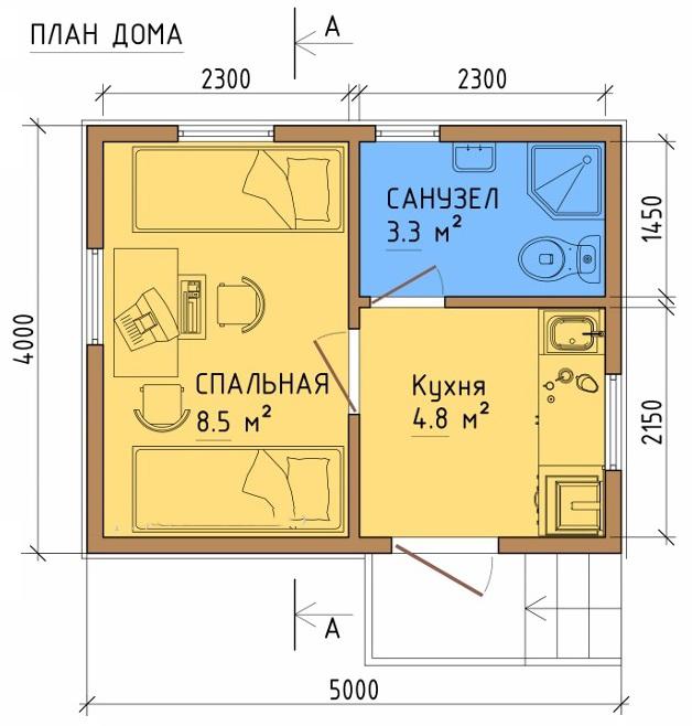 Свободная планировка дома 20 м2
