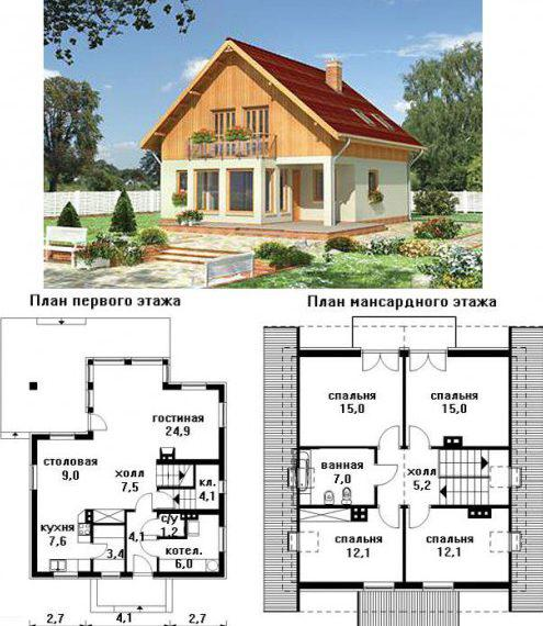 одноэтажные дома с мансардой проекты фото