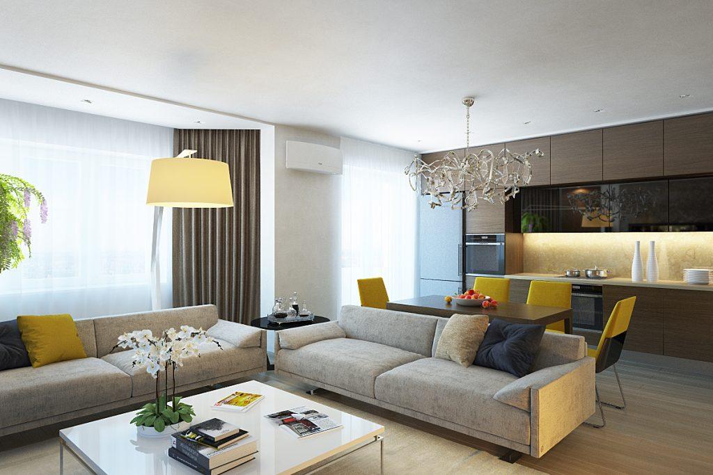Изображения в интерьере современной гостиной