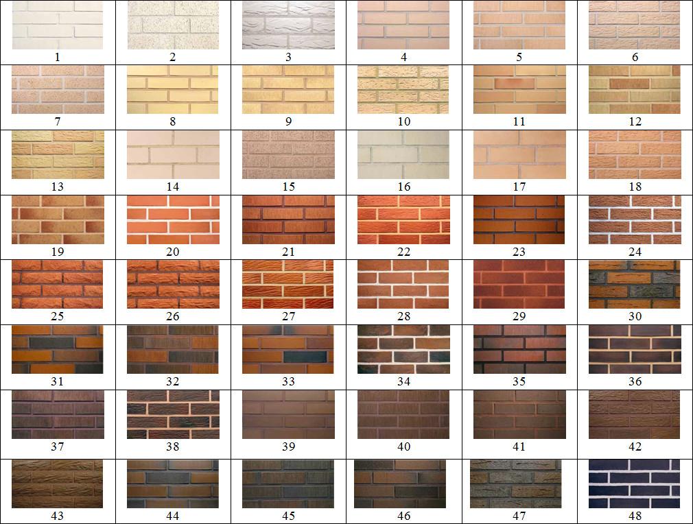 Разнообразие цветов облицовочного кирпича