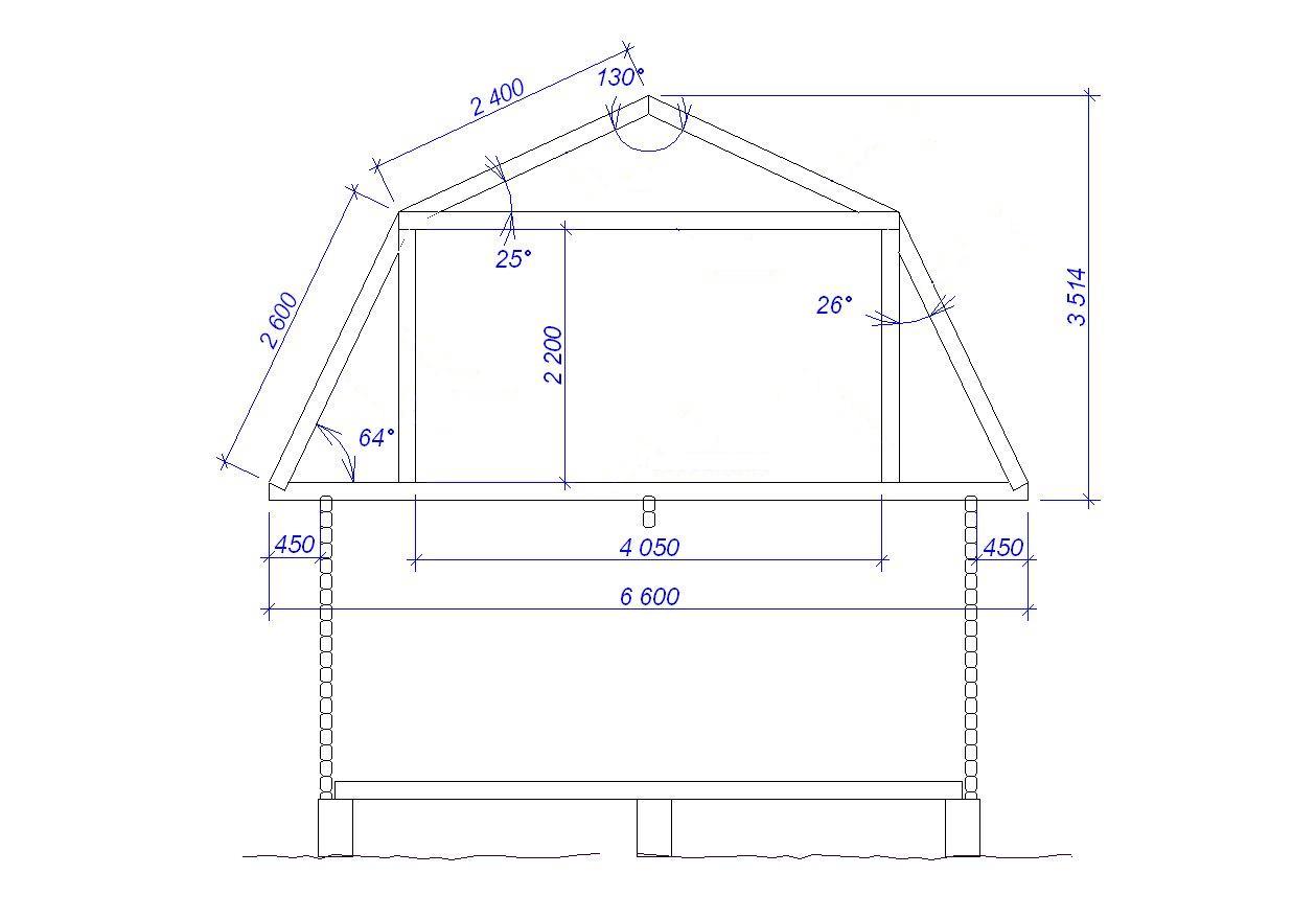 Чертеж стропильной системы мансардной крыши с размерами