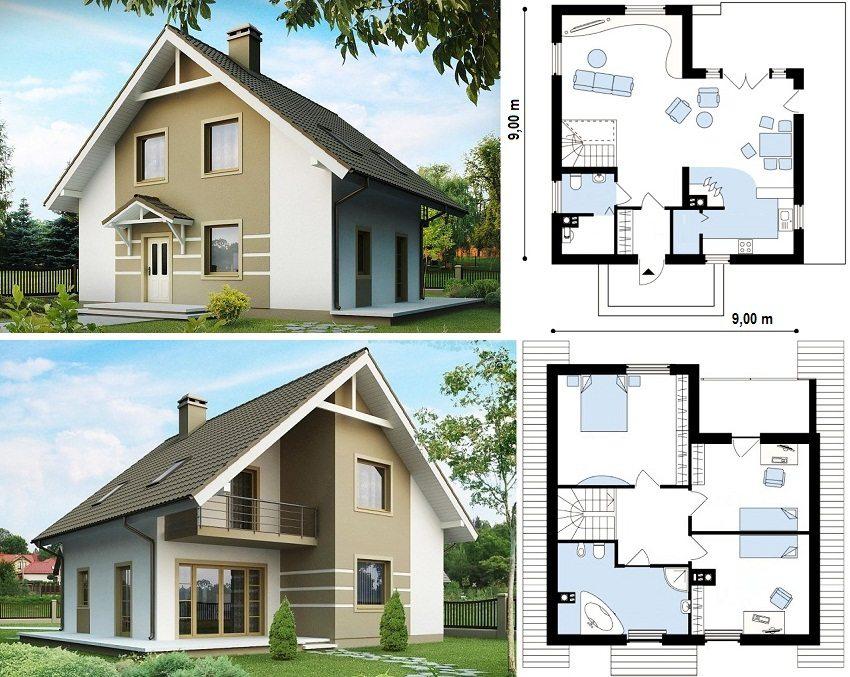 Примеры планов домов с мансардой