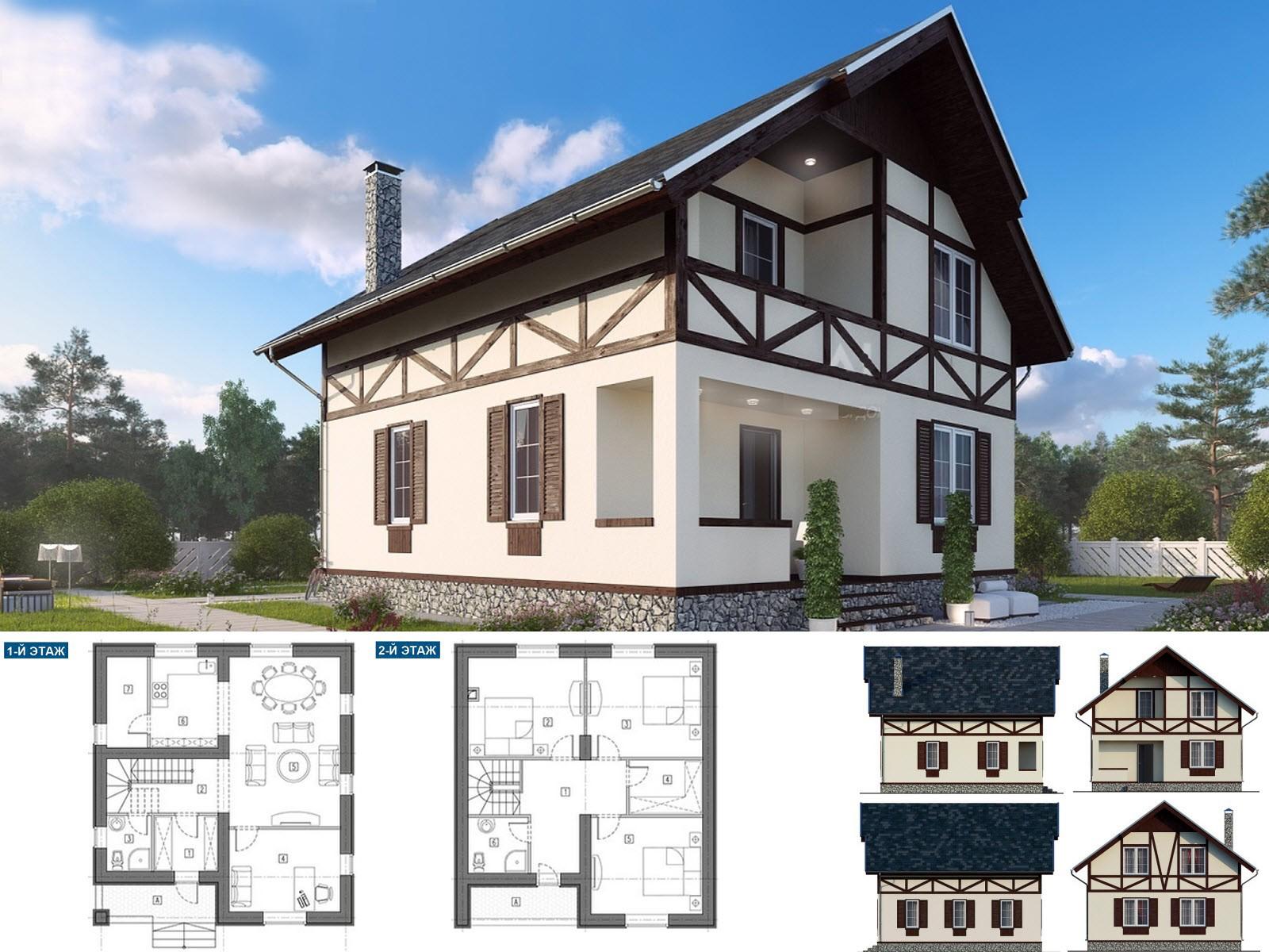 Двух этажный дом с проектом