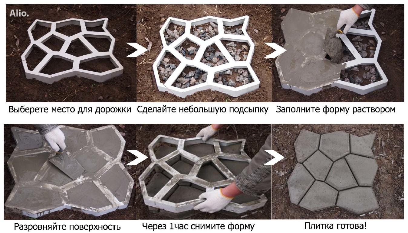 Процесс создания садовой дорожки с помощью форм