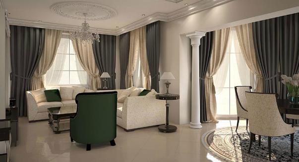 Шторы в гостиной в стиле современная классика