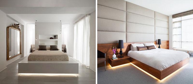 Спальня с интересной подсветкой