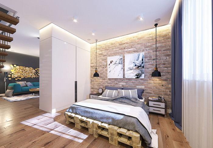 Спальня с интерьером в духе лофт