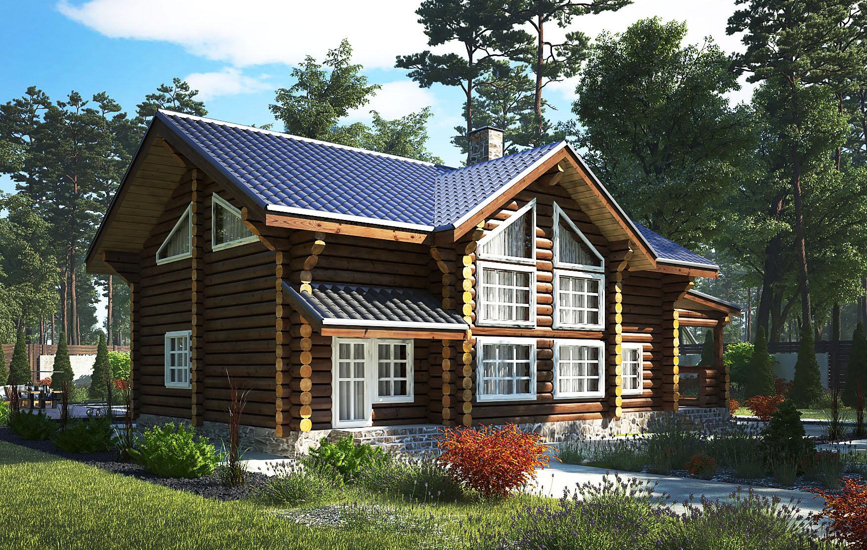 Дом из оцилиндрованного бревна - фото