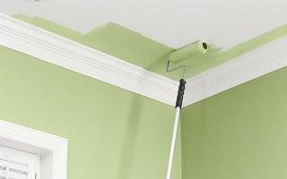 Покраска потолка и плинтусов водоэмульсионной краской
