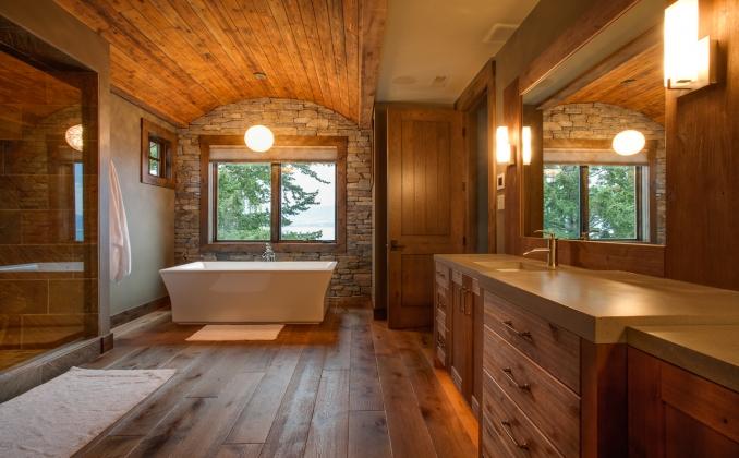 Деревянная ванная комната с подсветкой