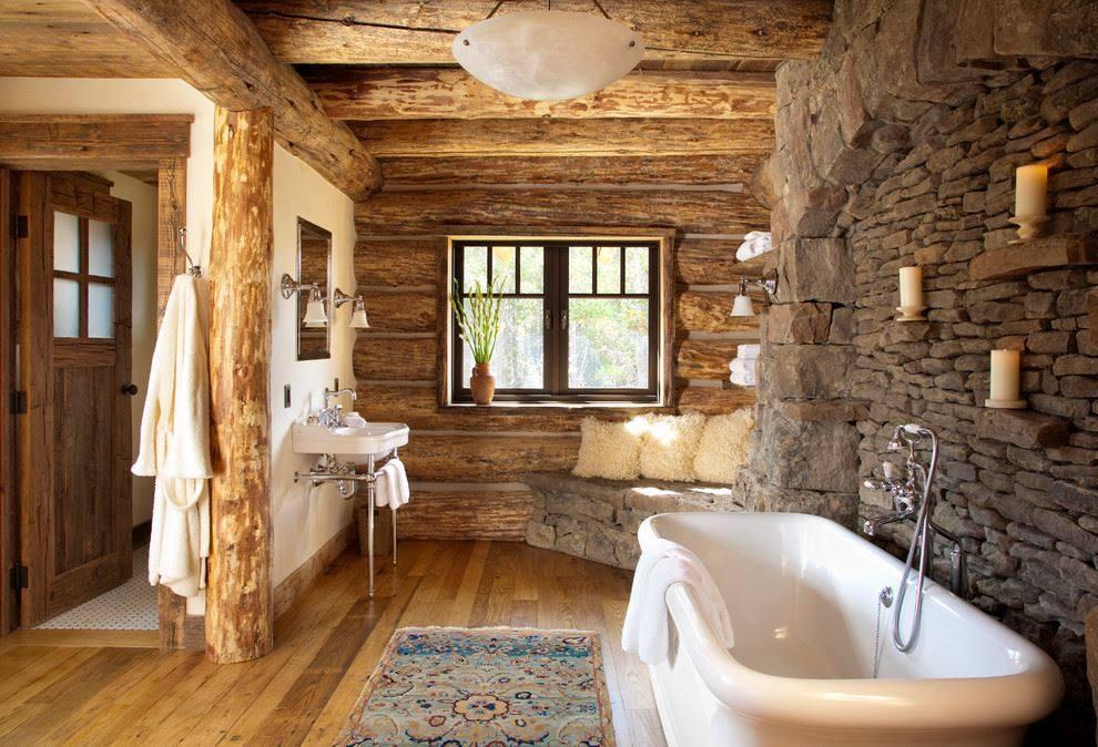 Деревянная ванная комната - интерьер