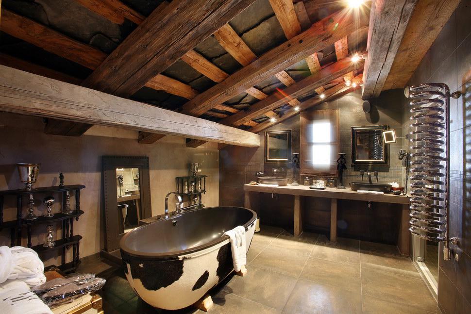 Деревянная ванная комната - фото